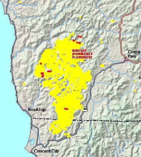 Black line protects subdivision from Biscuit Fire Oregon still